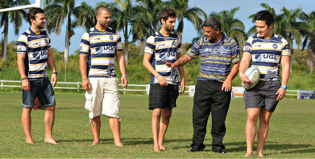 MON DIEU: French rugby players Mathieu Zamdona, Clement Fillion, Simon Larsonneur and Clement Lallier have joined forced with Brothers Rugby Union Club. They practise their moves with new coach Sam Albert at Quarry Hill.
