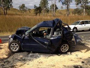 Man suffers spinal injury after eight car smash on Bruce Hwy