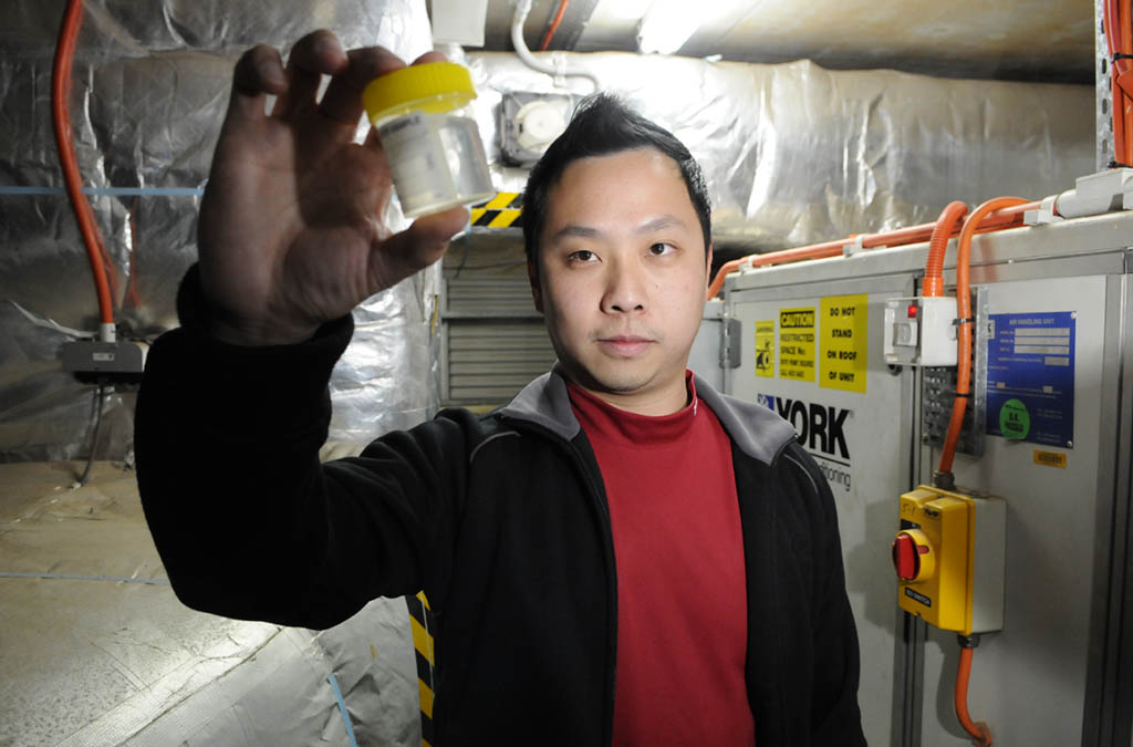 Toowoomba Hospital engineering manager Kevin Tan checking for legionella bacteria.