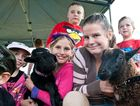 Amber Star, Chloe and Jasmyn Atkins, Brodhi Francis and Max Morgan look after the goats in the animal nursery at the Orara Valley Fair. Photo: Rob Wright / The Coffs Coast Advocate