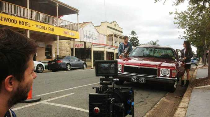 MAIN ATTRACTION: A scene from the Australian-produced feature, 500 Miles, is filmed in Rosewood's main street over the weekend.