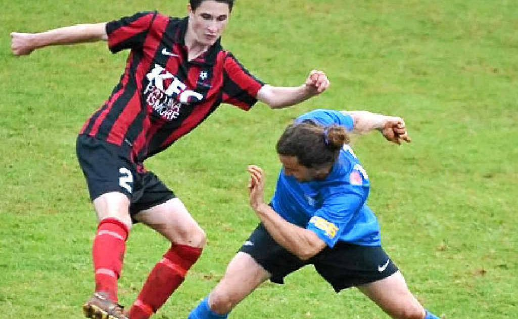 RIGHT: Alstonville FC's Zakale Iliffe (left) in recent action against Bangalow FC. Iliffe will be hoping his side can snare an important win over Lismore Workers in tonight's Football FNC men's premier division action.