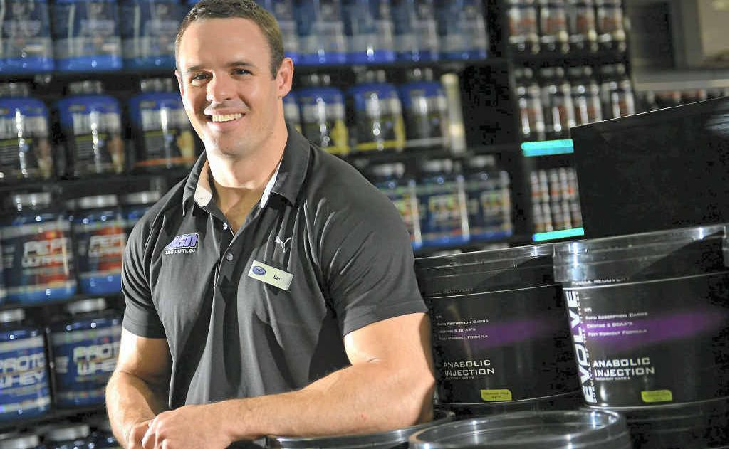 Australian Sports Nutrition Gladstone part-owner Ben Murphy is excited by a visit from body building legend Dennis James.