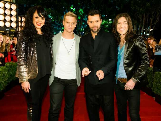 The Voice coach Ricky Martin, second from right, with his finalists, from left, Miss Murphy, Luke Kennedy and Simon Meli.