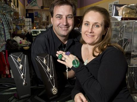 Terry and Leanne Jennings from Avalon Crystals. Made in Heaven Creations jewellry. Photo Nev Madsen / The Chronicle