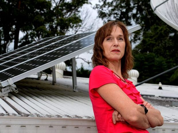 Marion Riordan with her solar system at home.