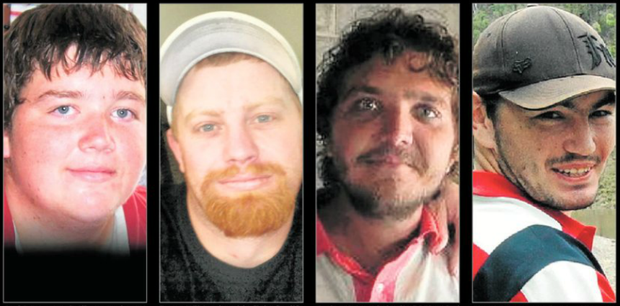 Left to right: Joel Lynam tragically passed away on Sunday morning. Bryan Wilmot lost his fight for life on Monday. Joshua Lynam has now returned home and is recovering. Vincent Summers also lost his fight for life on Tuesday evening.