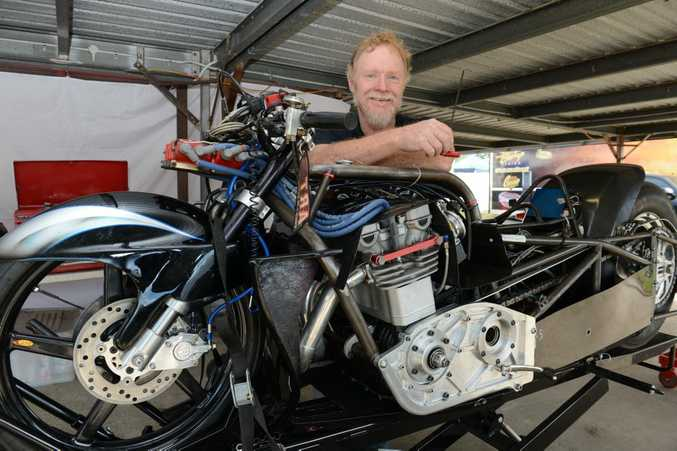 Phil Howard with his prostock motorcycle at the first day of the Winternationals at Willowbank Raceway on Friday. Photo: Sarah Harvey / The Queensland Times