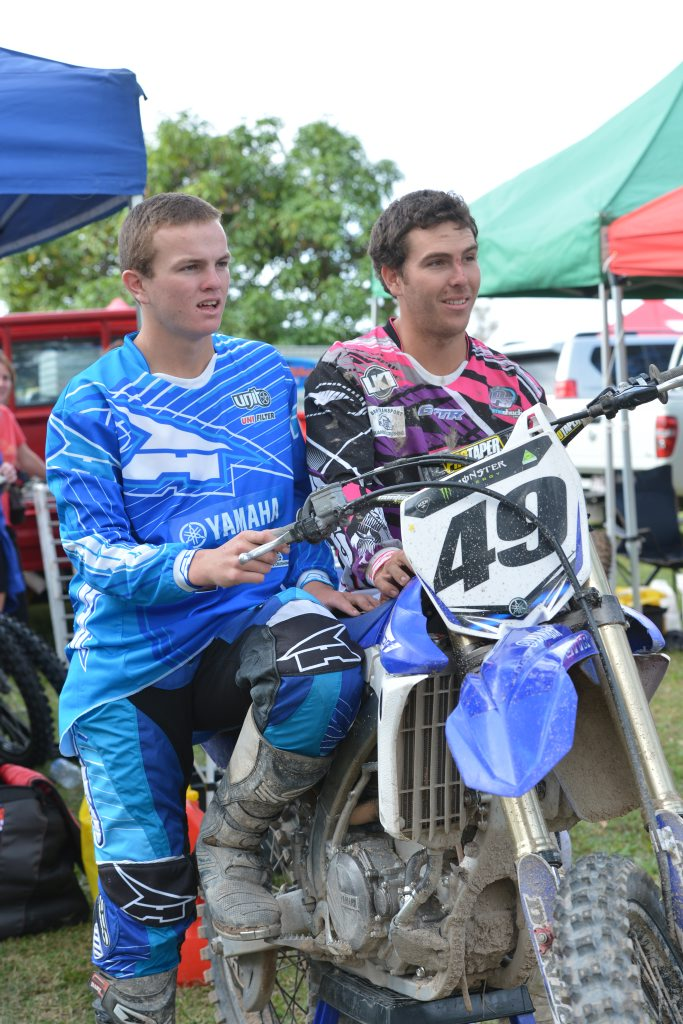 Joel Dinsdale left, and brother Brock at the a motocross event.