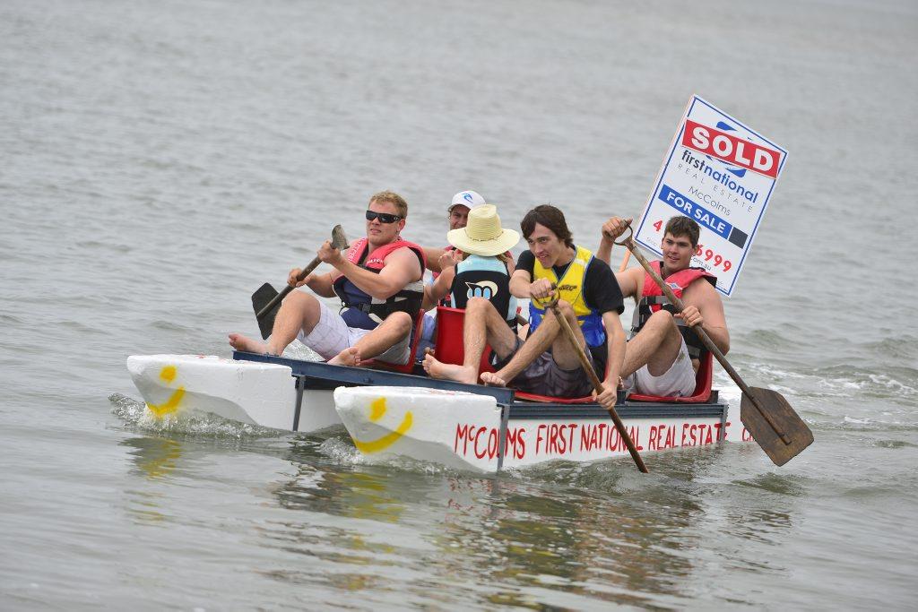 The Baffle Creek raft race at the Flat Rock boat ramp, Baffle Creek. Photo Christopher Chan / The Observer