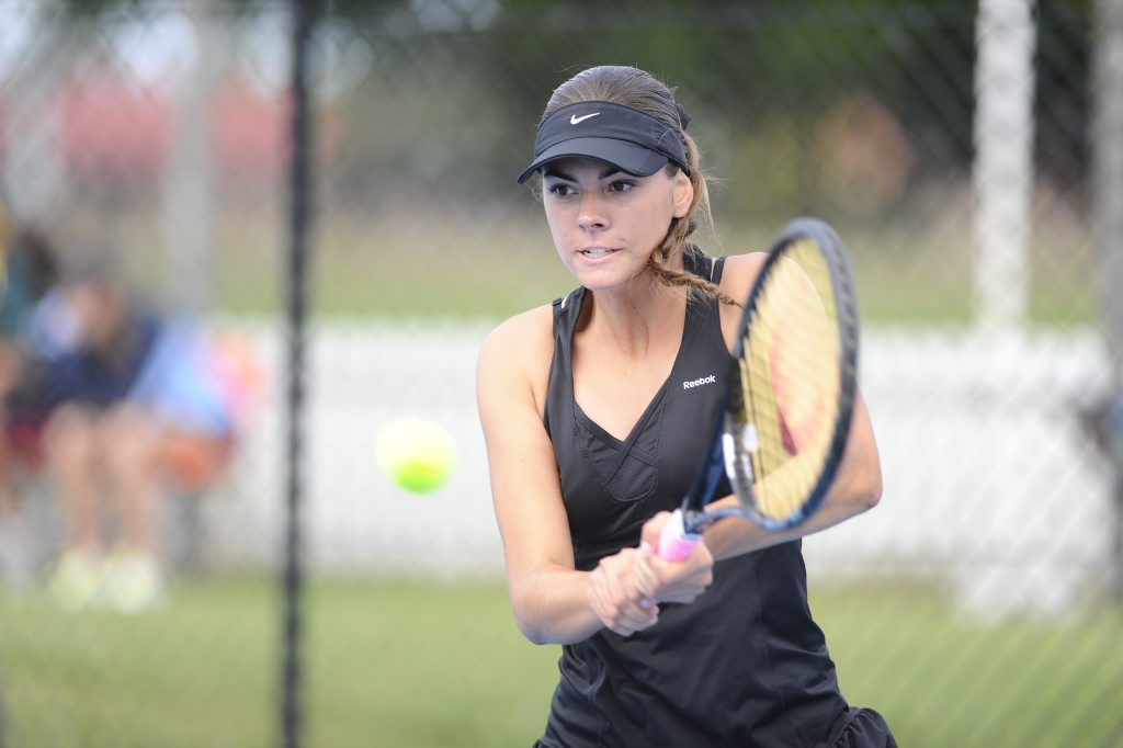 Taylah Beckman, 16, in action during the womens singles finals of the North Coast Tennis Open on Monday morning in Grafton. Photo JoJo Newby / The Daily Examiner