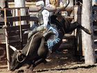Keelan Alexander explodes out of the gate in the junior bull riding section of Teebar Rodeo last year.