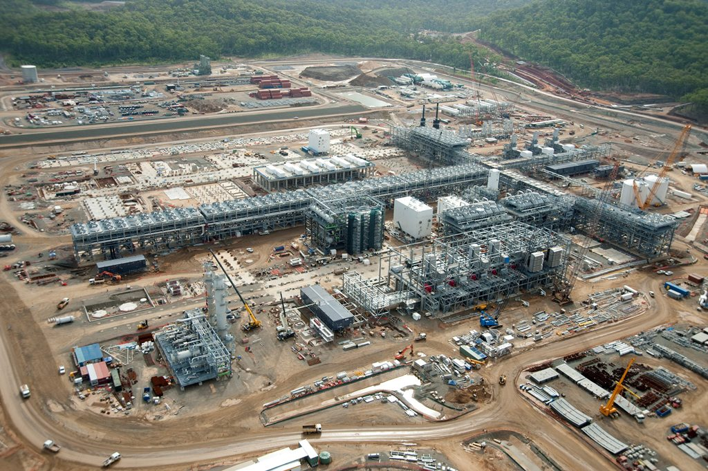 An aerial view of the QCLNG project.
