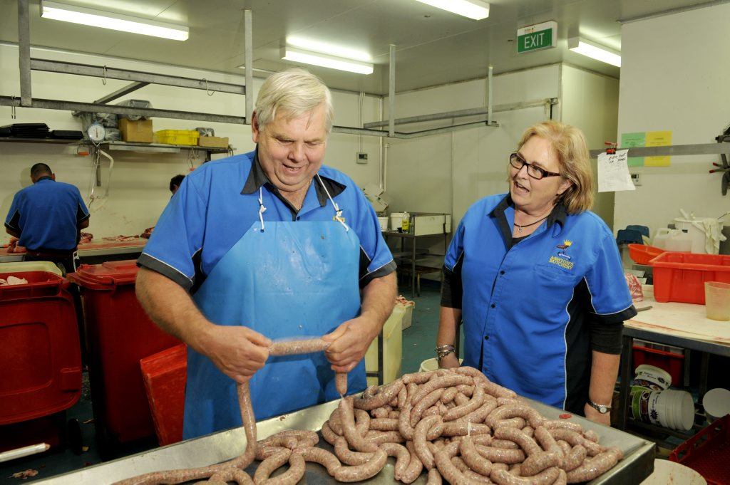 Richard Schulte and Rhonda Ashton from Ashton's Butchers whip up some casalinga sausages.