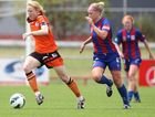 Clare Polkinghorne of the Brisbane Roar in control of the ball during the round seven W-League match between the Newcastle Jets and the Brisbane Roar at Wanderers Oval on December 2, 2012 in Newcastle, Australia.