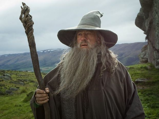 Ian McKellen in a scene from the movie The Hobbit: An Unexpected Journey.