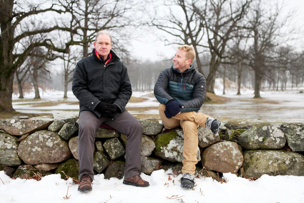 Hamish MacDonald, right, pictured interviewing convicted murderer and writer Erwin James in a scene from his current affairs TV series The Truth Is.