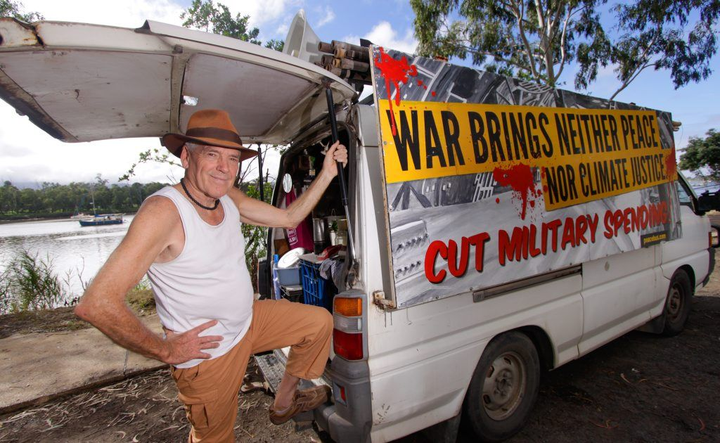 Peace activist Graeme Dunstan has arrived in Rockhampton to help organise resistance to the upcoming Talisman Sabre exercise. Photo: Chris Ison / The Morning Bulletin