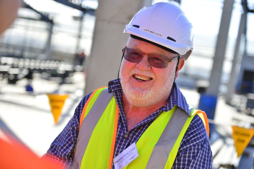 Gladstone harbour master captain Mike Lutze inspects the Gladstone Entertainment Centre redevelopment which is currently about 65% complete.