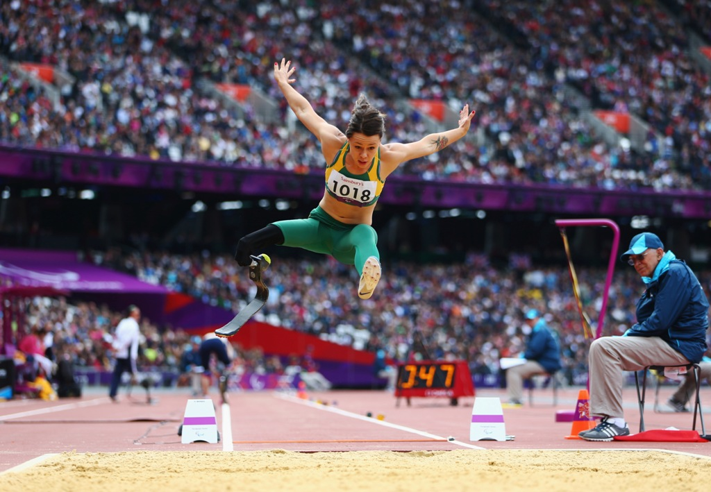 Kelly Cartwright of Australia competes in the Women's Long Jump - F42/44 Final on day 4 of the London 2012 Paralympic Games at Olympic Stadium on September 2, 2012 in London, England.