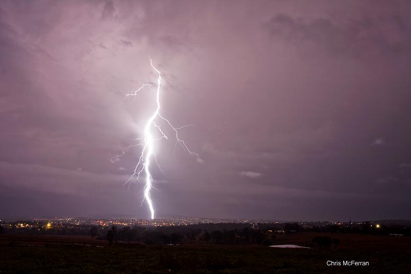 A lightning strike over Warwick.