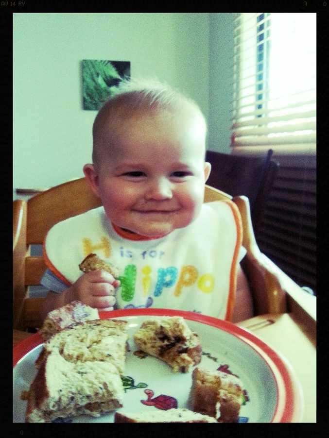 Seven-month-old Maximilian Pierre Morel sure loves his Vegemite