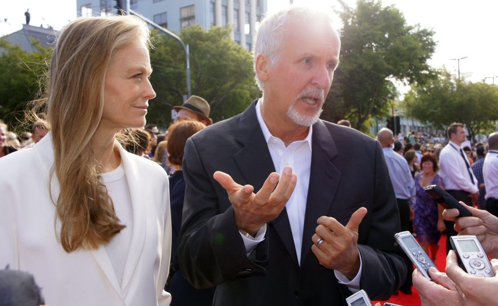 Director James Cameron and his wife Suzy Amis on the red carpet of The Hobbit: An Unexpected Journey world premiere.