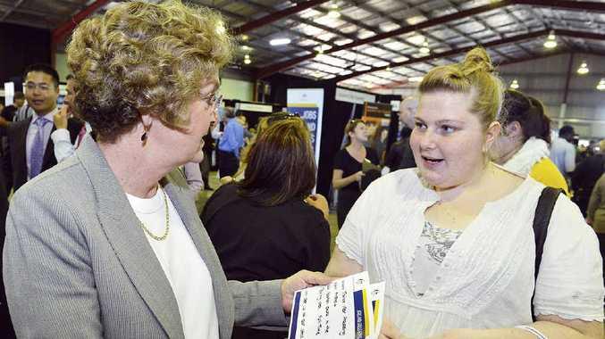 OPPORTUNITIES: Senator Jan McLucas talks with job seeker Tamika Besgrove at the Australian Government Jobs and Skills Expo.