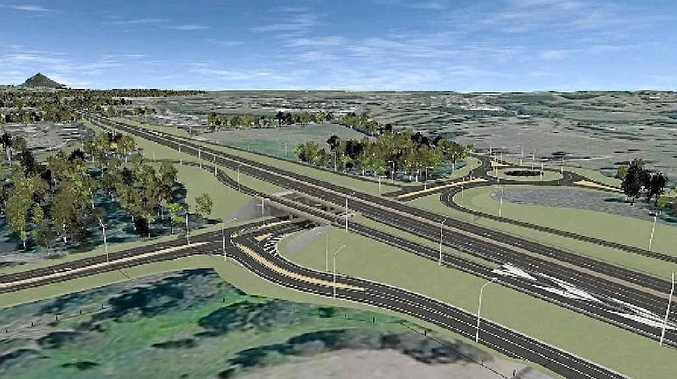 WORK IN PROGRESS: An artist's impression of the upgraded Cooroy southern interchange looking north-east.