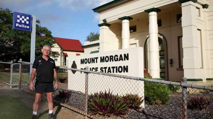 Peter Hixon outside the Mount Morgan police station. Photo Allan Reinikka / The Morning Bulletin