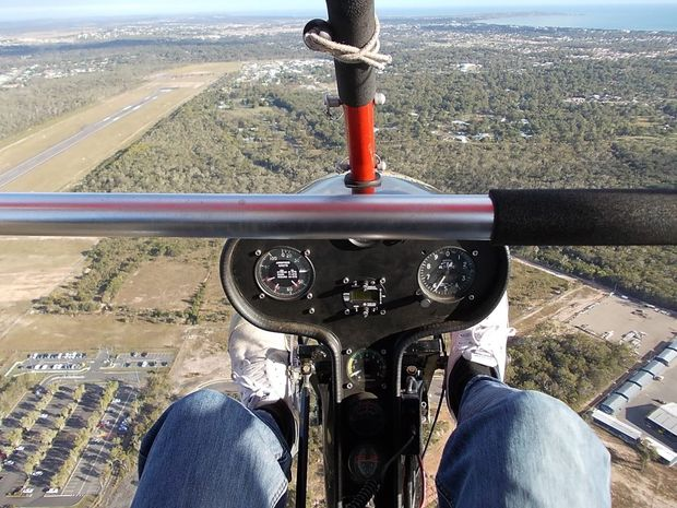 Approaching Hervey Bay Airport for landing during flight lessons with Fraser Coast Microlites.