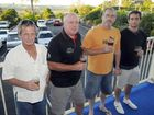 SAD DAY: David Byrne, Geoff Cahill, Grant Evans and Jay Higham drown their sorrows as they prepare to say farewell to the Lismore Workers Heights Bowling Club's social venue.