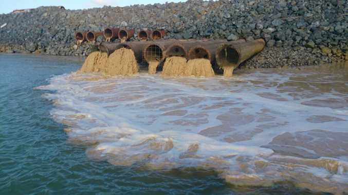 The dredging company responsible for the Western Basin project scrambled to repair damaged weir boxes, which leaked sediment into Gladstone Harbour on Friday. Photo Contributed