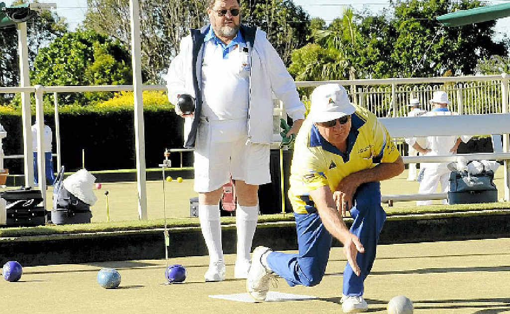 Peter Sivewright from South Lismore, at the Lismore Heights Bowls men's pairs on Saturday.