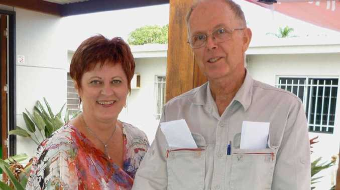 Mackay Mayor Deirdre Comerford congratulates David McNichol on his retirement.