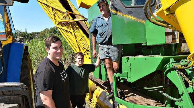 Joe Schembri, with Joe Schembri Jnr and Mark Schembri, prepares for this year's harvest. Mackay Sugar's Racecourse Mill is set to start crushing today and Farleigh on Wednesday.