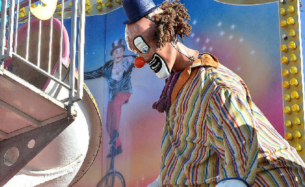 Allen Ivory prepares the Magic Circus sideshow for the Mackay Show. Gates open at 9am today at Mackay Showgrounds.