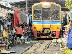 Thailand's Maeklong Station hosts market with a risky buzz