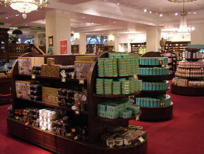 Ground floor displays of a huge range of teas and chocolates, as well as cakes, wines, cigars, fruit and flowers.
