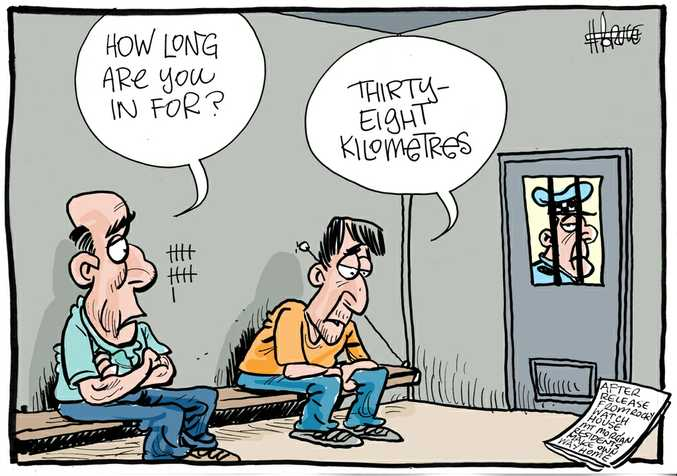 Harry Bruce cartoon about the Peter Hixon's concerns Mt Morgan people taken to Rockhampton watchhouse over night have to walk 38km home once released.