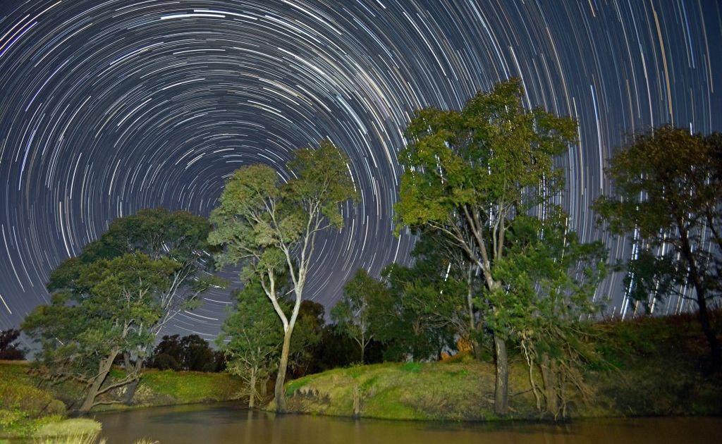 A star trails photo captured at the Condamine River at Ellangowan.