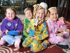 WARM FOR A CAUSE: (Left to right) Siennah Ireland, Jackson Hanley, Harrison Purvey and Sophie Goss were glad to take part in Pyjama Day on a chilly morning at C&K; West Moreton Community Kindergarten.