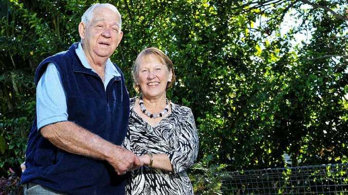 RURAL ROMANCE: Glynn and Hazel McKey celebrating their 50th wedding anniversary last Saturday and (below right) on their wedding day.