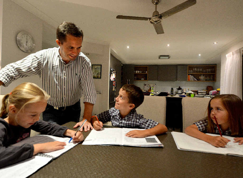 Advances in technology mean Tim Miles doesn't have to spend 50 hours a week in the office but can work from home and spend more time with his three children Chloe, 7, Isaac, 9, and Charlotte, 11.
