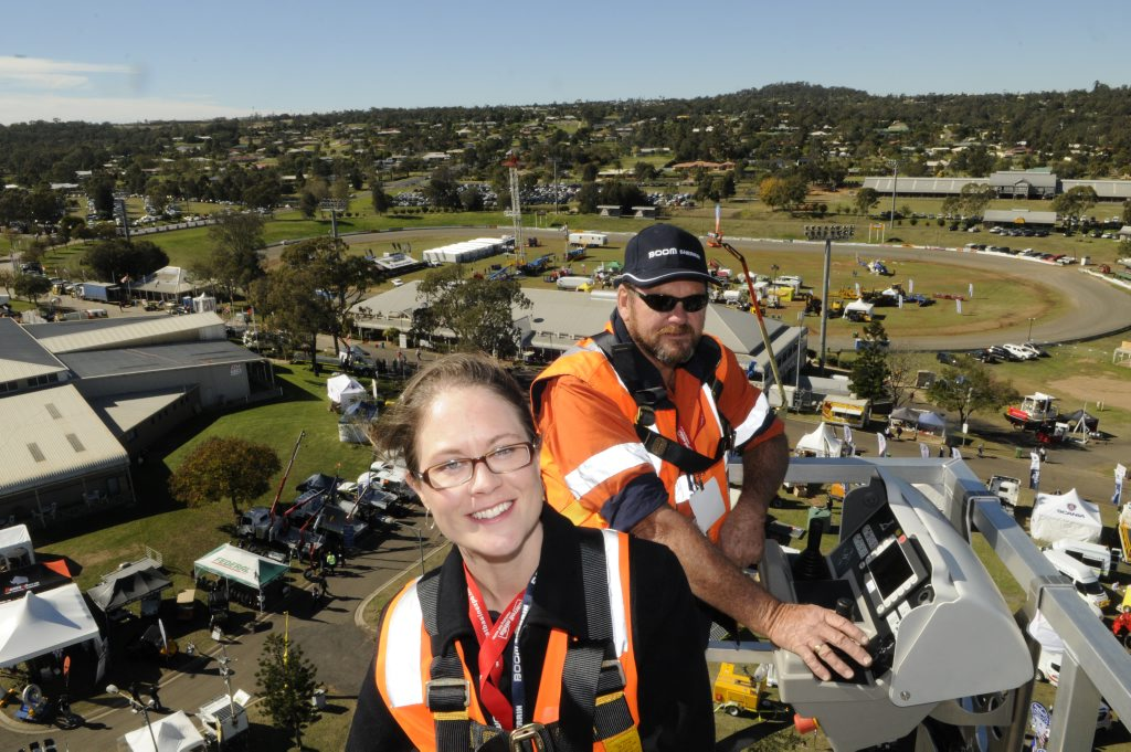 Getting a bird's eye view of the expo are Marie-Claire Wood (left) and Darryl Schwass from Boom Sherrin.