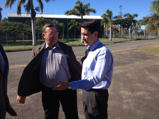 Canegrowers' Dale Hollis and David Crisafulli in Bundaberg this morning to welcome the first sugar export ship loading since the floods.