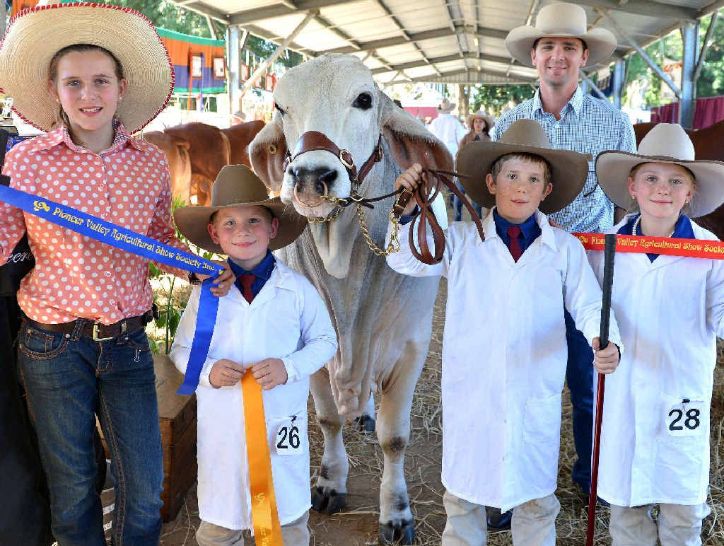 WELL DONE: Remy Streeter, Lane Sturdy, Croyden Sturdy, Pioneer Valley Show Society rural ambassador Luke Pullen and Grace Sturdy were among the winners of the cattle judging at the Pioneer Valley Show.