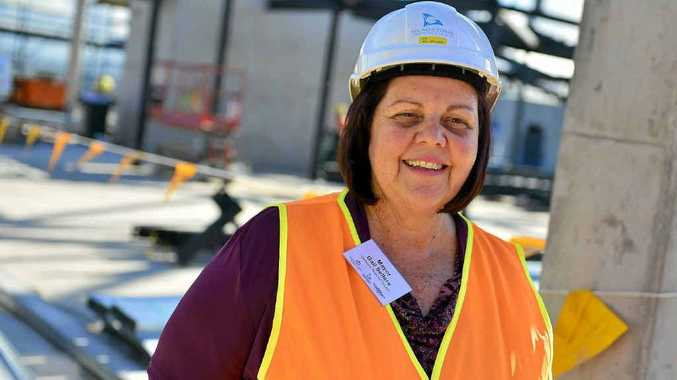 OVERSIGHT: Mayor Gail Sellers last week inspected construction at the Gladstone Entertainment Centre redevelopment before it was revealed in yesterday's council meeting that its budget is more than $2million over.