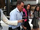 Witness in the inquest Desmond Edward Edmondstone leaves Brisbane Magistrates Court.