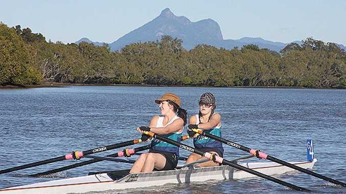 Murwillumbah Rowing Club girls Charlotte Doss (front) and Emily Carey.